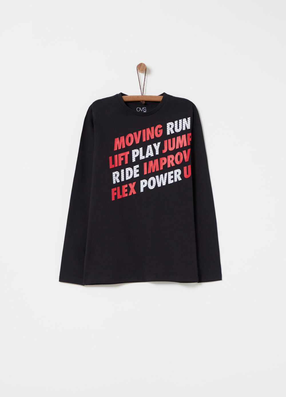T-shirt with printed lettering and long sleeves