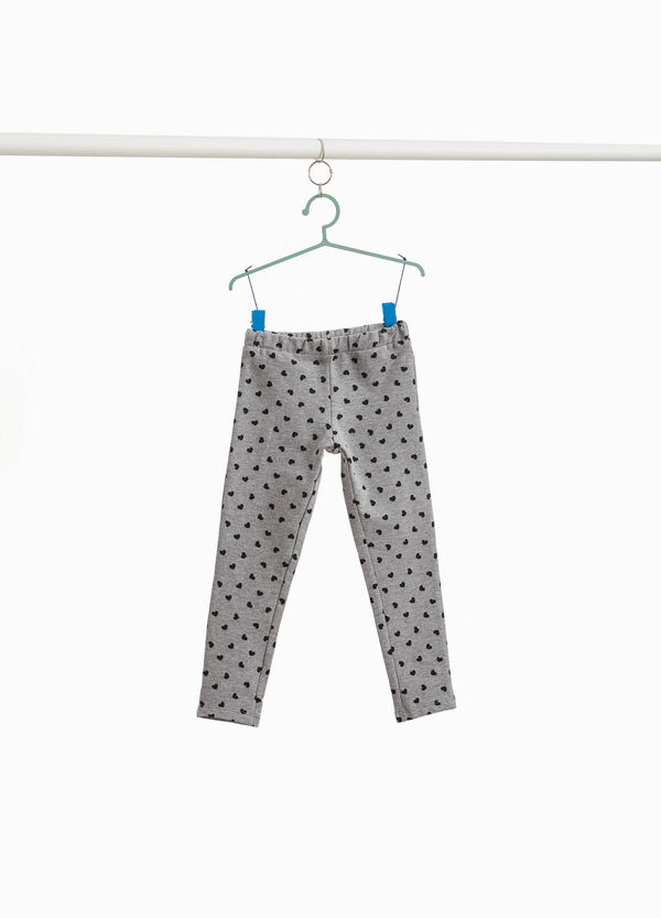 Cotton and viscose trousers with heart pattern