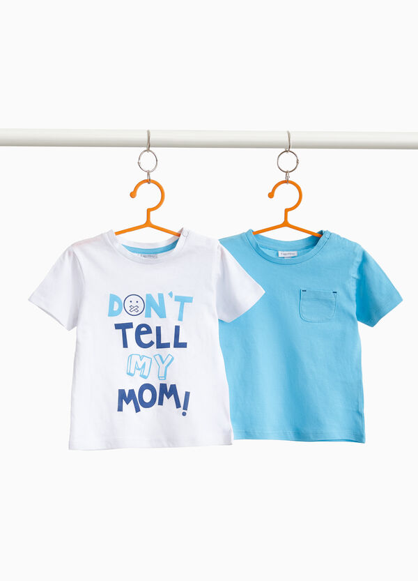 Two-pack cotton T-shirts with print and solid colour