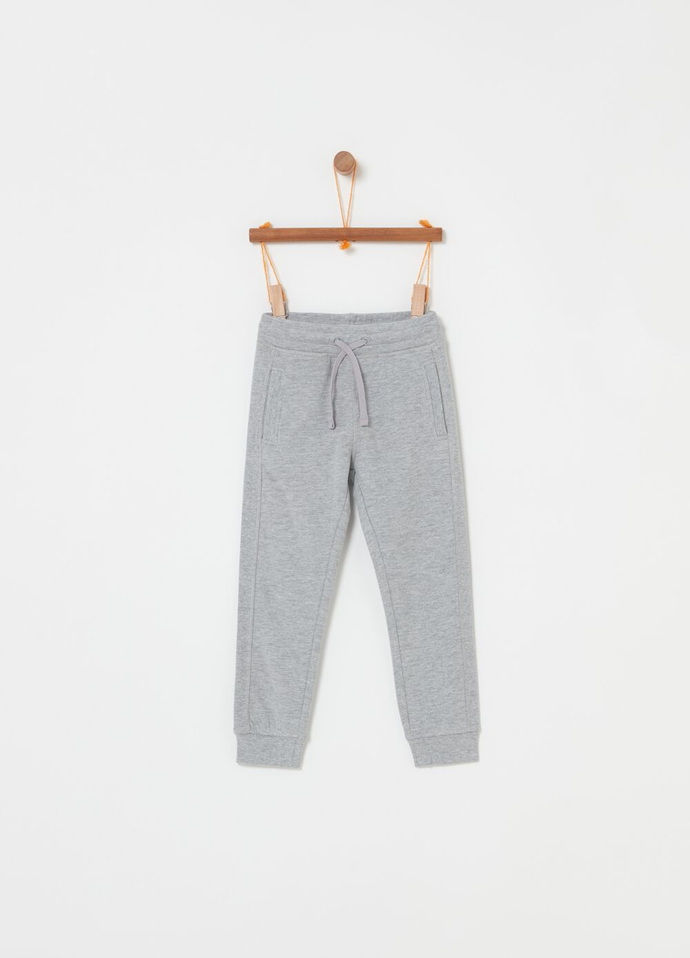 Mélange fleece trousers with drawstring