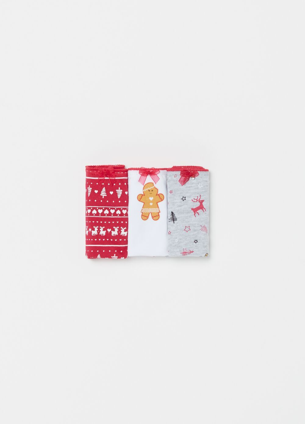 Three-pack organic cotton briefs with Christmas pattern