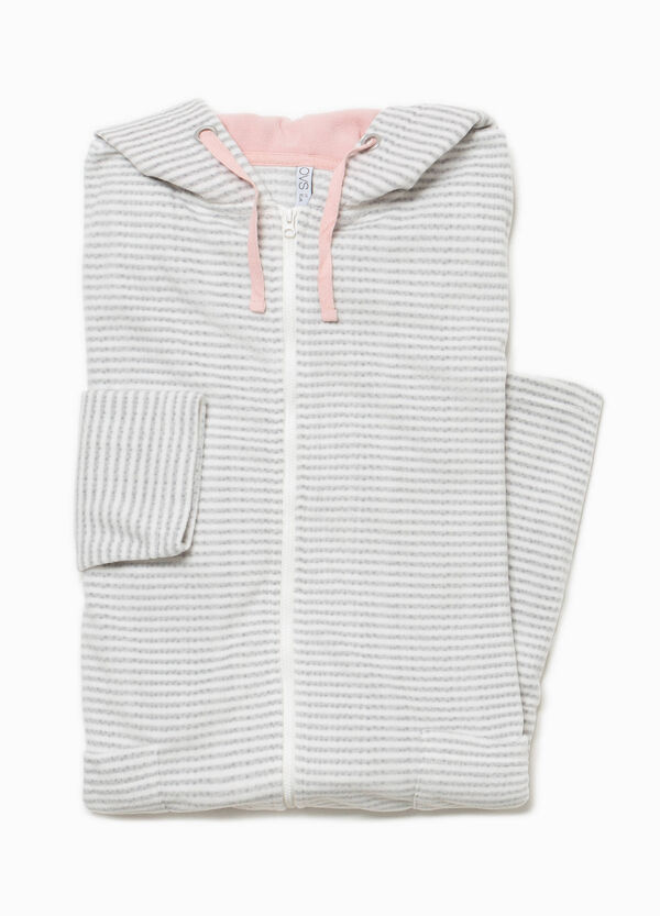 Striped fleece dressing gown with hood   OVS
