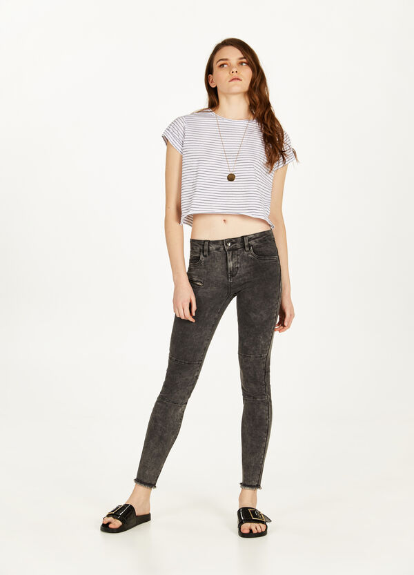 Mis-dyed, stretch skinny-fit jeans