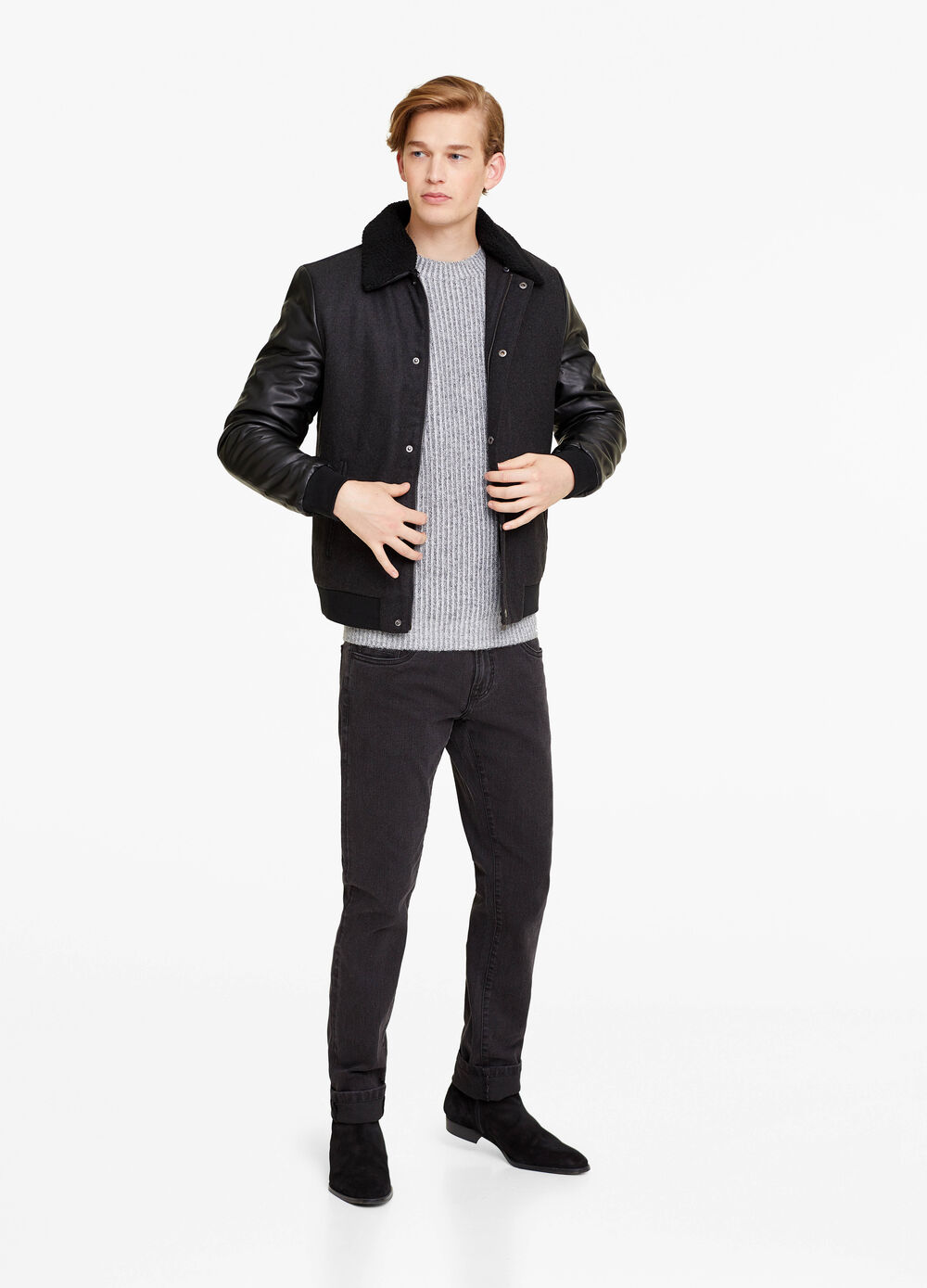 Jacket with leather-look sleeves
