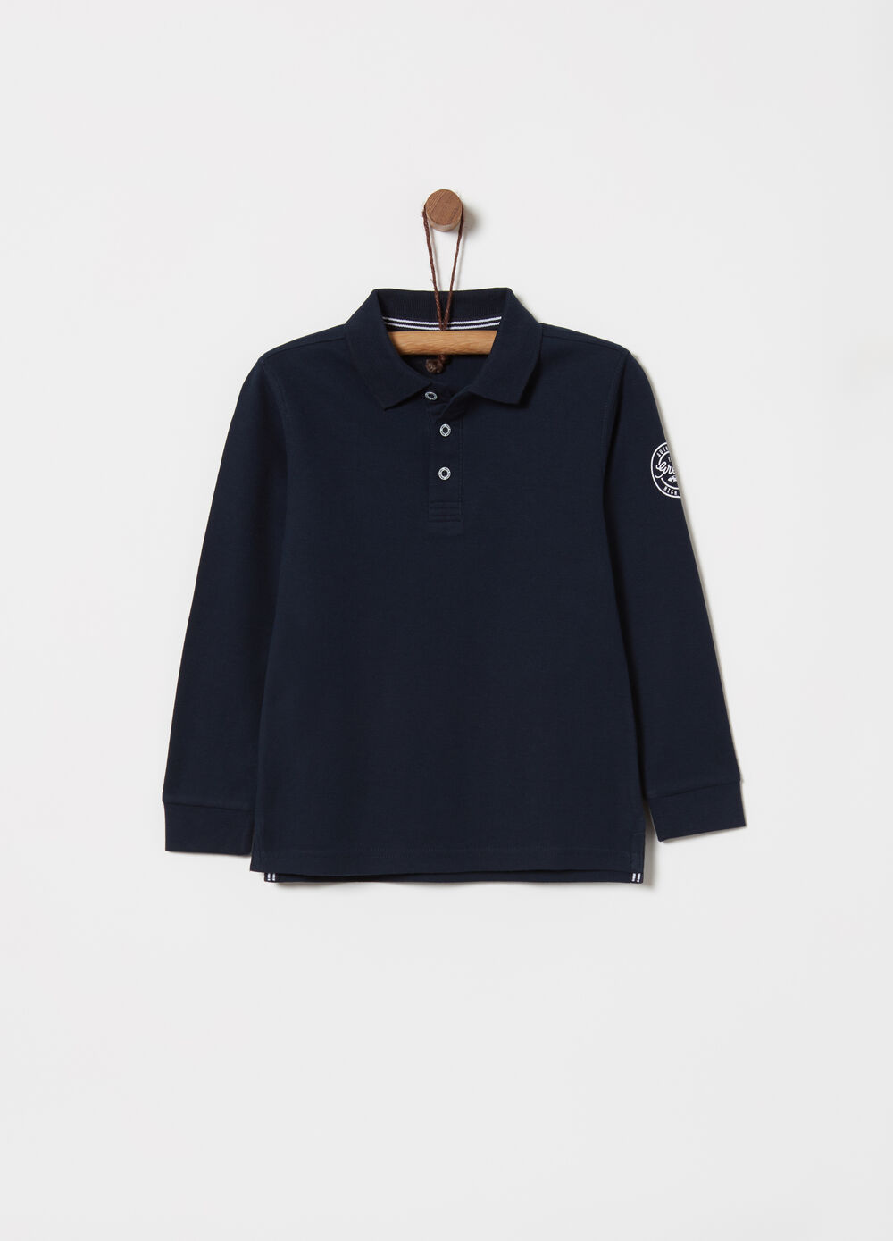 Polo shirt in cotton piquet with printed details