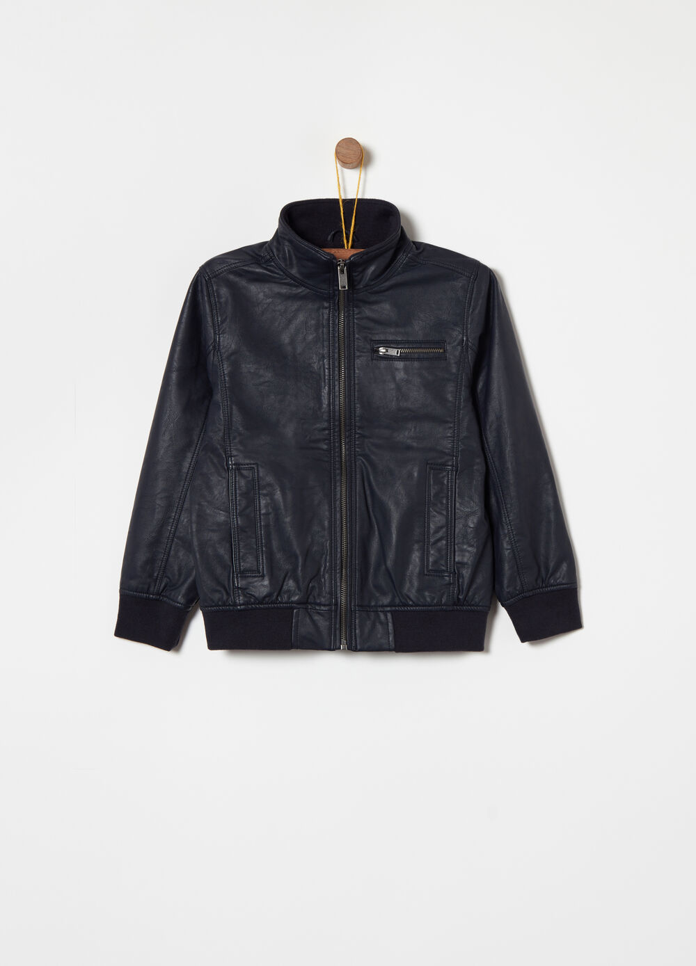 Leather-look jacket with micro fleece lining