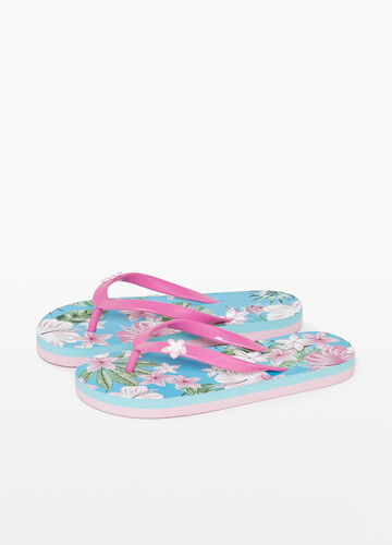 Rubber flip flops with floral pattern