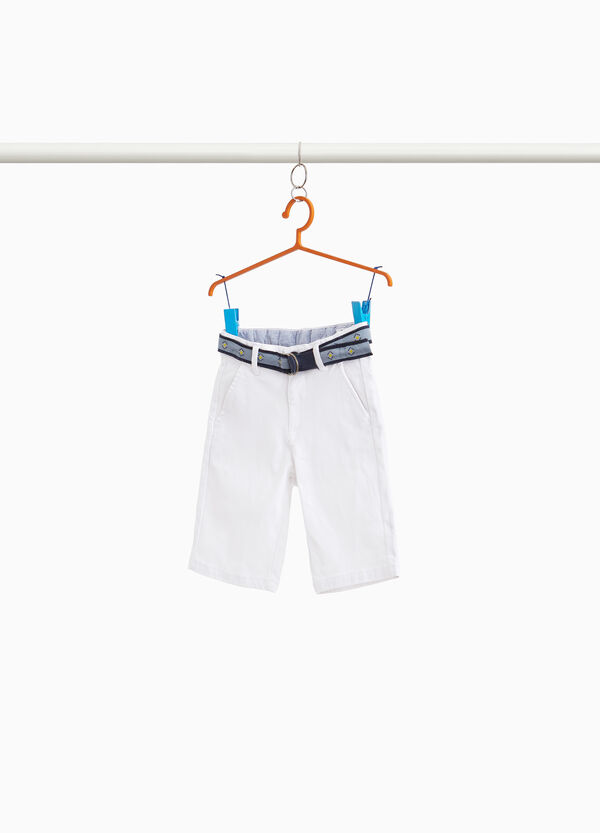 Stretch cotton Bermuda shorts with belt