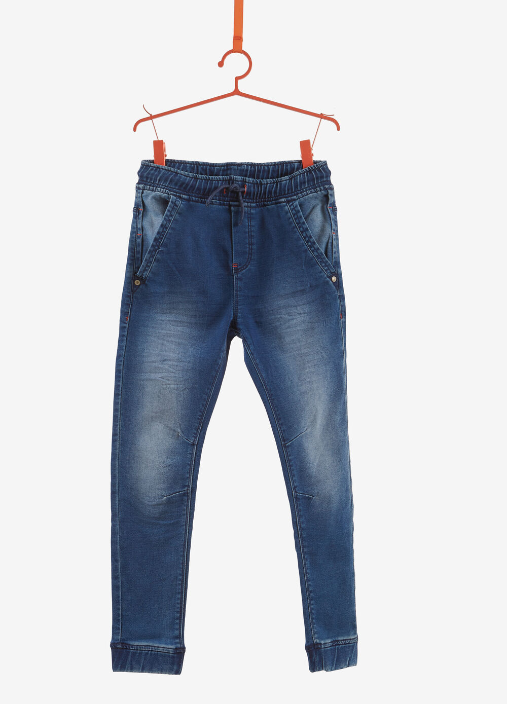 Cuff hem, worn stretch jeans with elasticated waistband