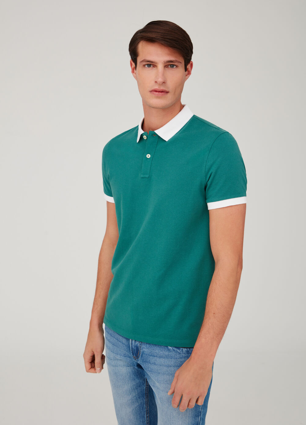 Cotton piquet polo shirt with contrasting ribbing