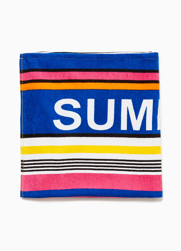 Cotton beach towel with lettering and stripes