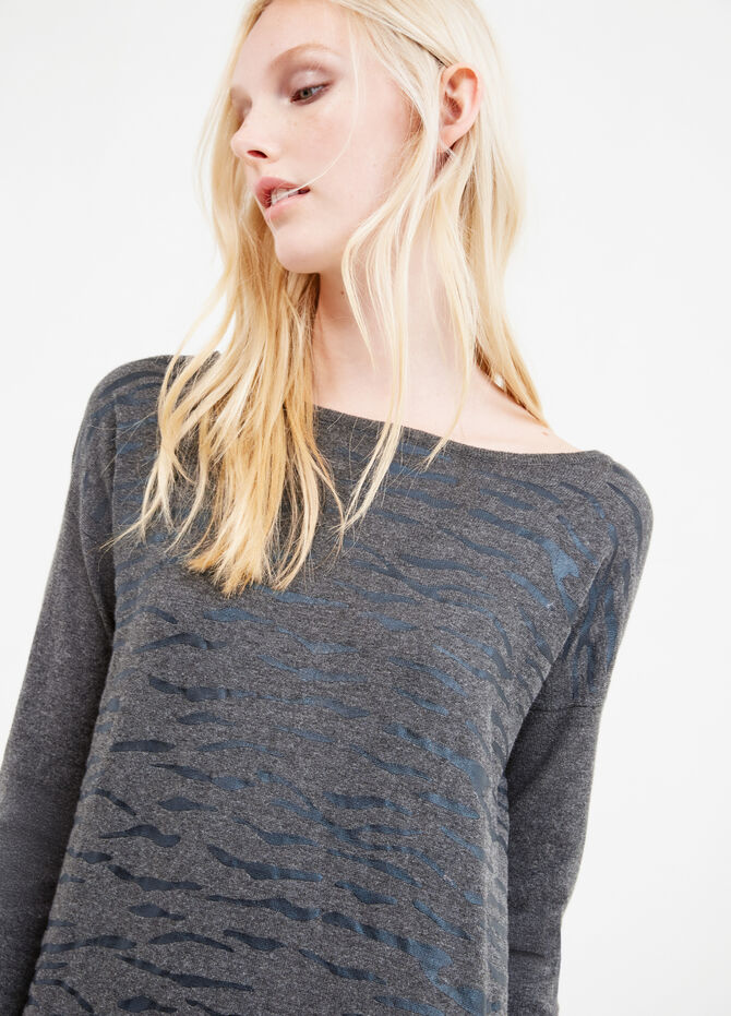Cotton and viscose printed pullover