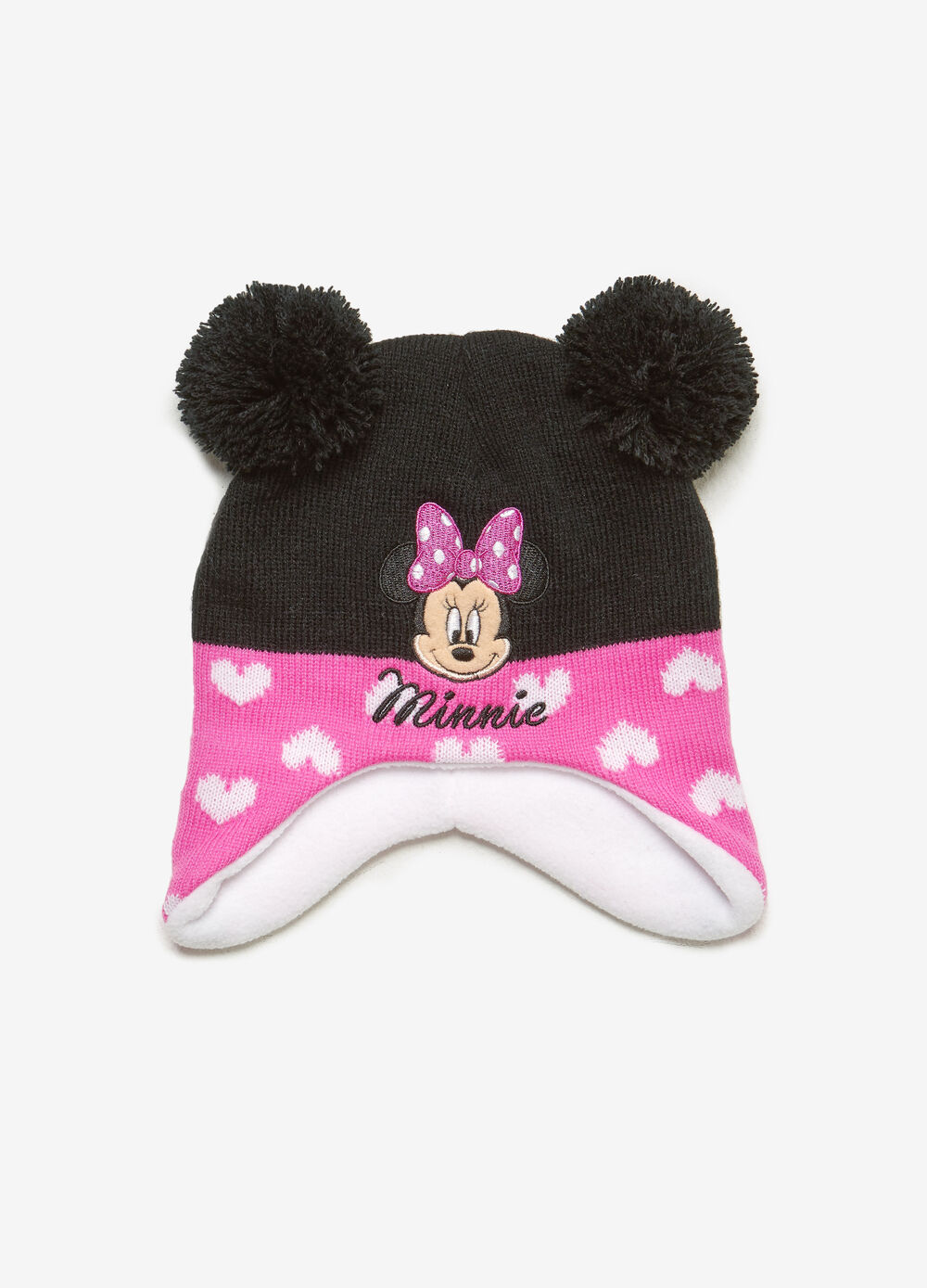Two-tone beanie cap with hearts and Minnie Mouse