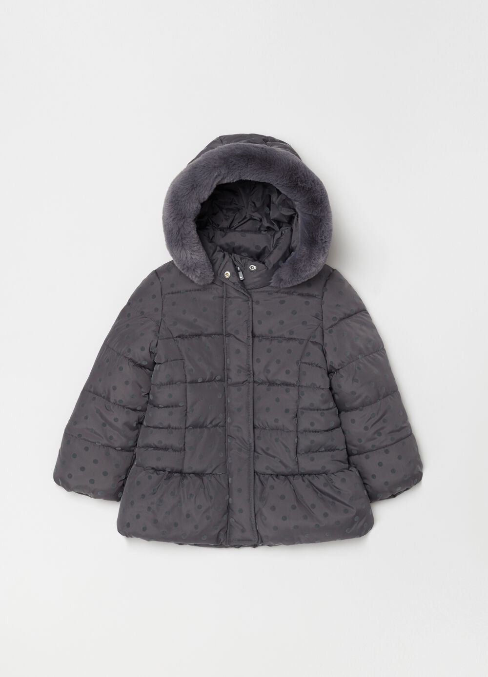 Padded and quilted jacket with polka dots