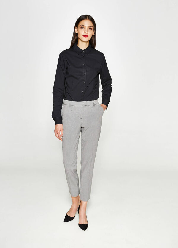 Stretch trousers with micro pattern | OVS