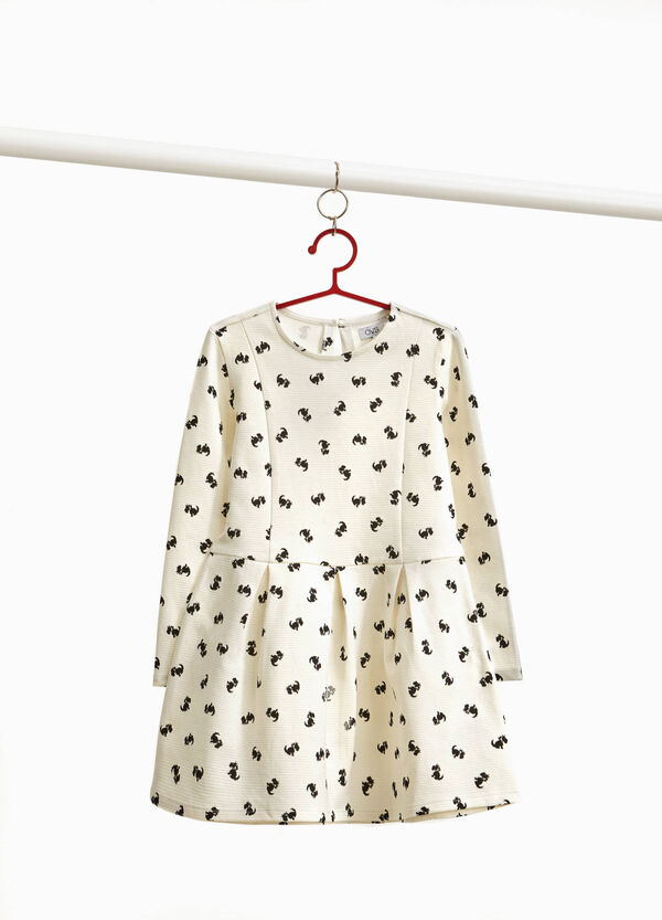 Dress in cotton blend with puppy print