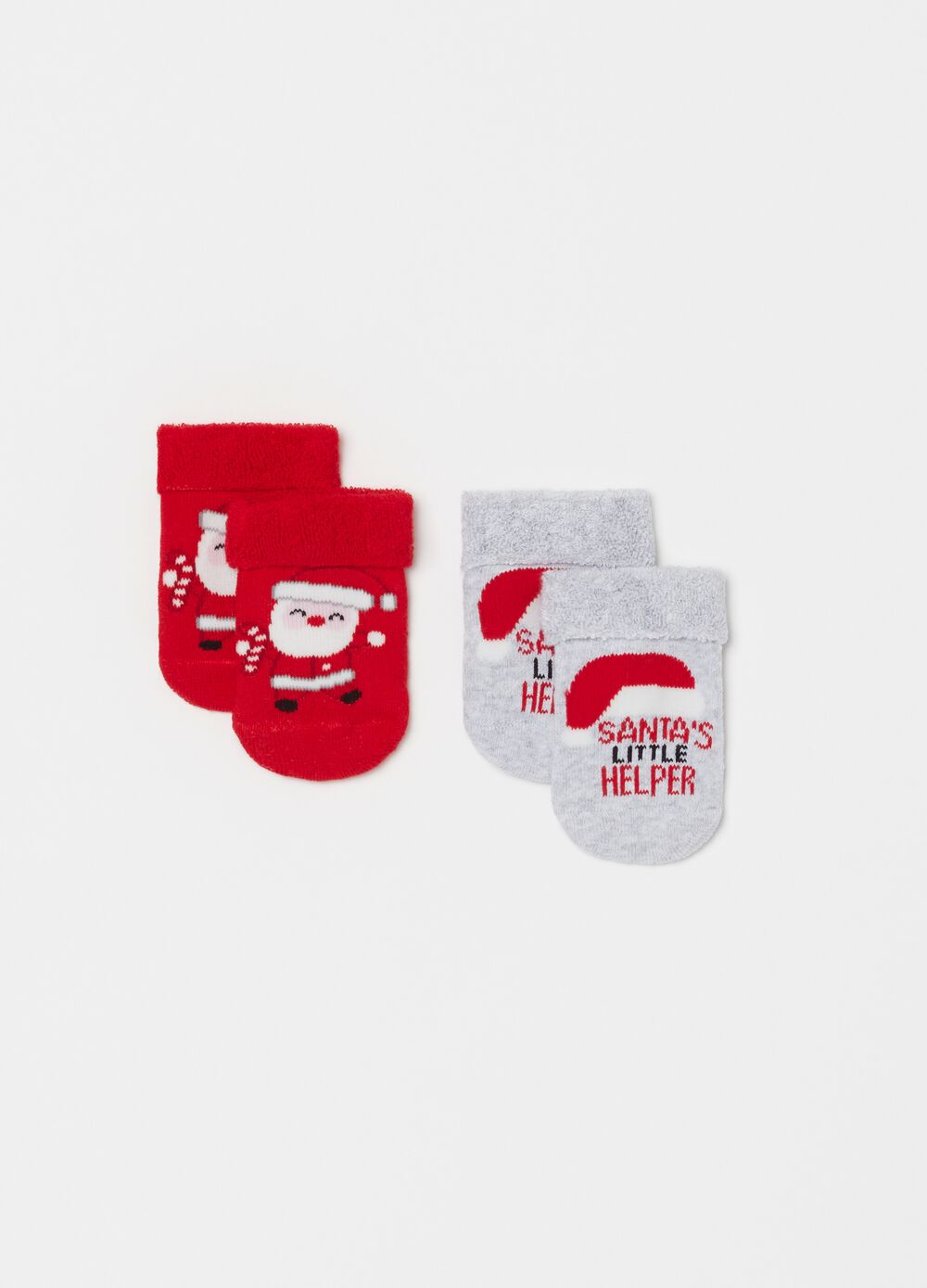 Two-pair pack short socks with Father Christmas print