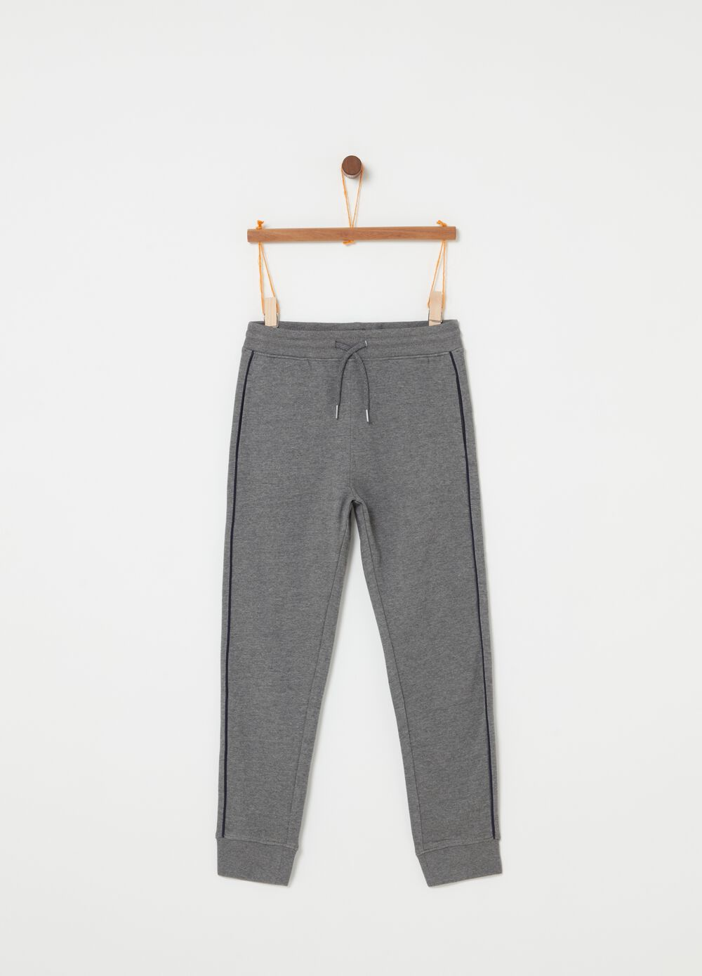 Viscose and cotton fleece trousers