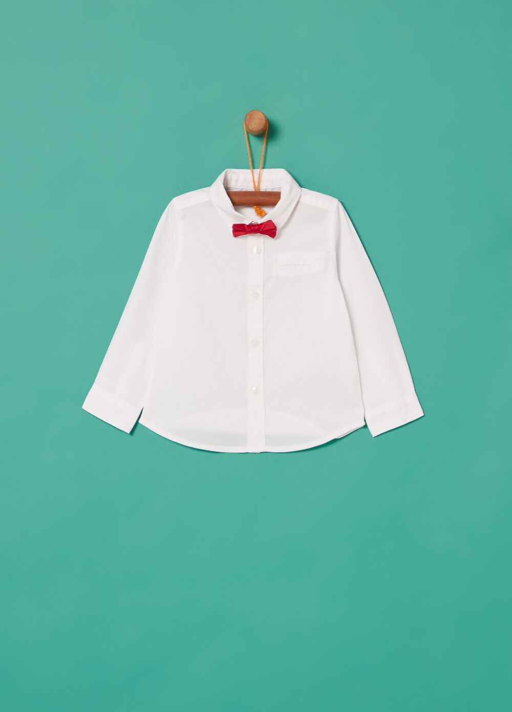 Shirt with bow tie and pocket
