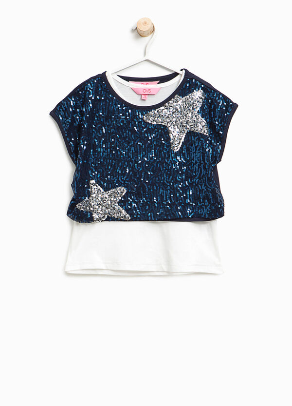 T-shirt with sequinned faux layer   OVS