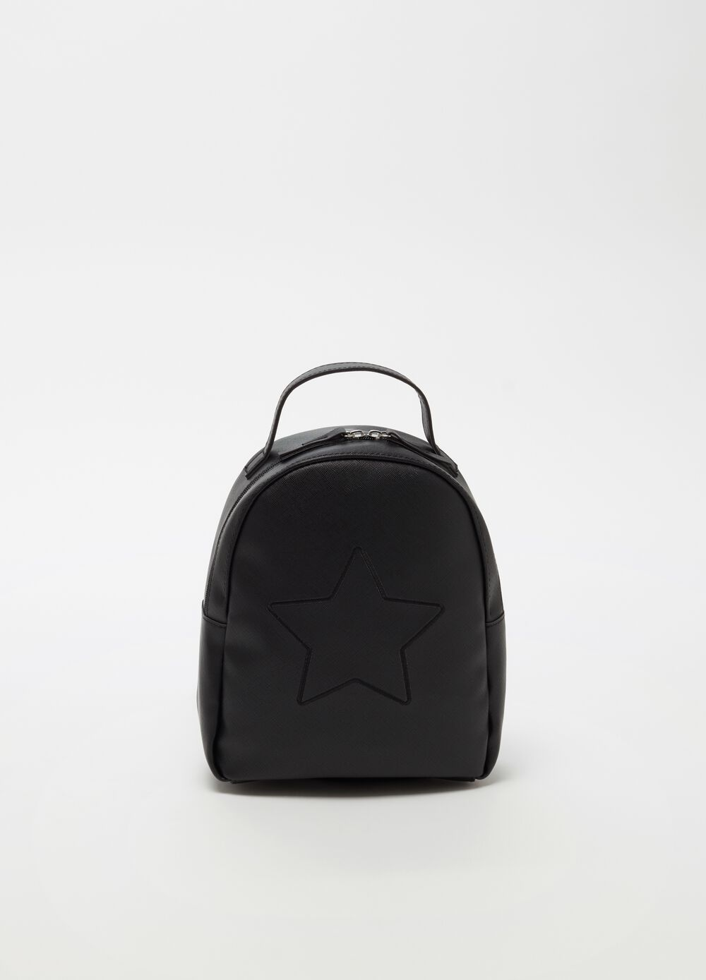 Rounded backpack with star embroidery