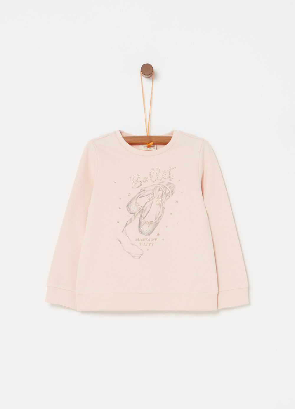 Sweatshirt in 100% cotton with ballerina print