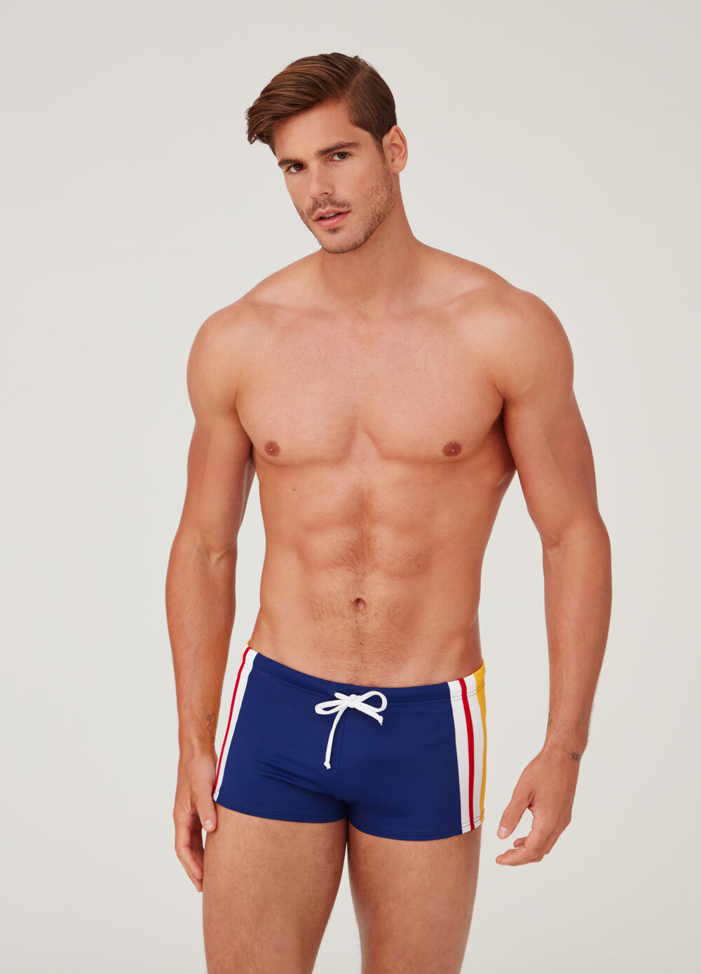 Swim boxer shorts with Ocean Care print and drawstring