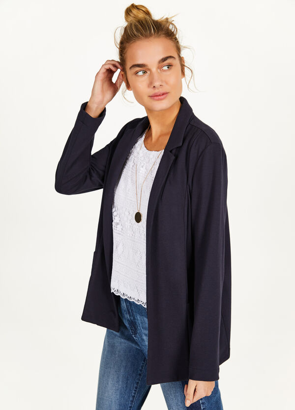 Stretch cotton blend blazer