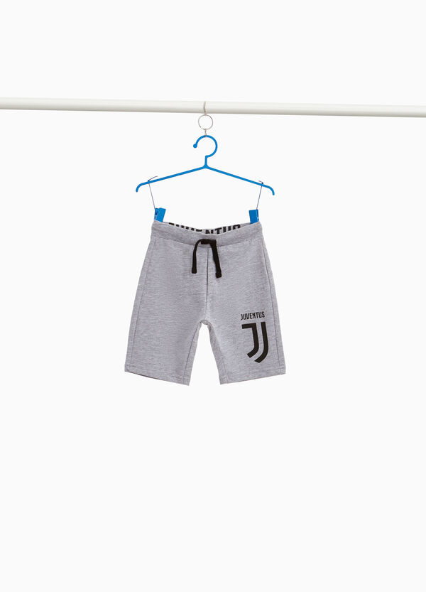 Cotton blend Bermuda shorts with Juventus print