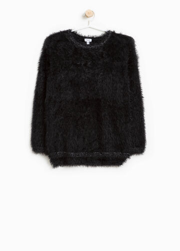 Frayed knitted pullover with glitter