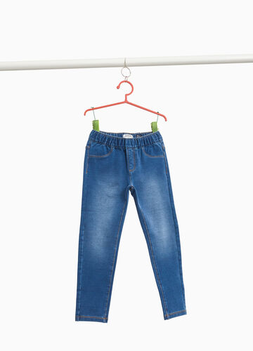 Washed and faded effect stretch jeans