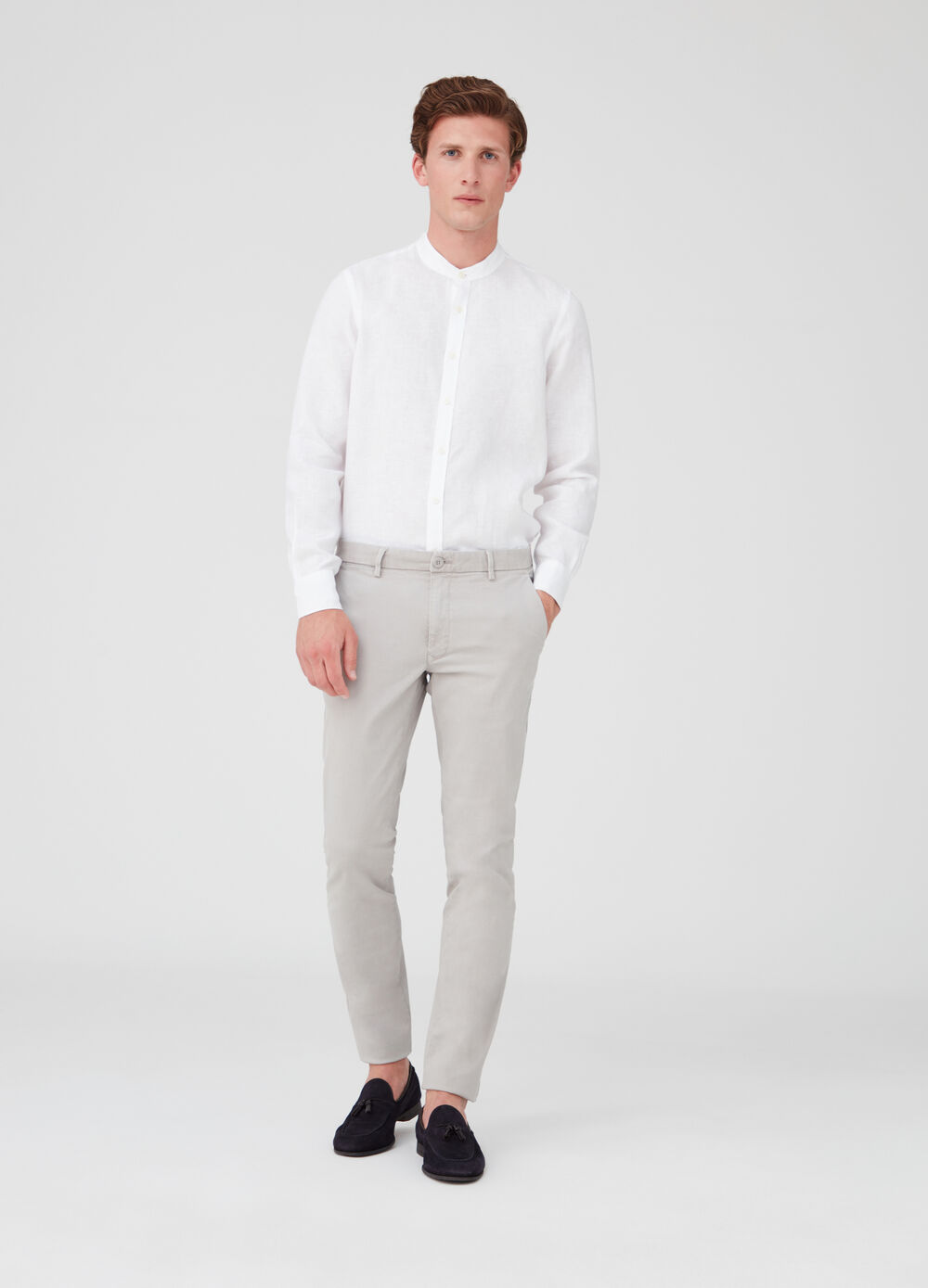 Regular-fit shirt in 100% washed linen