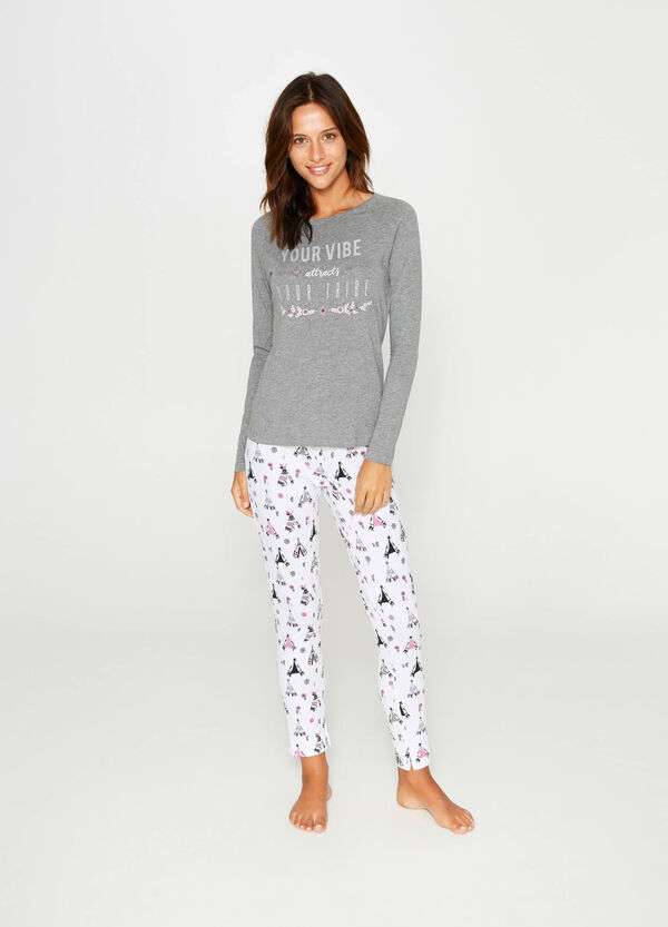 Cotton pyjamas with printed lettering | OVS