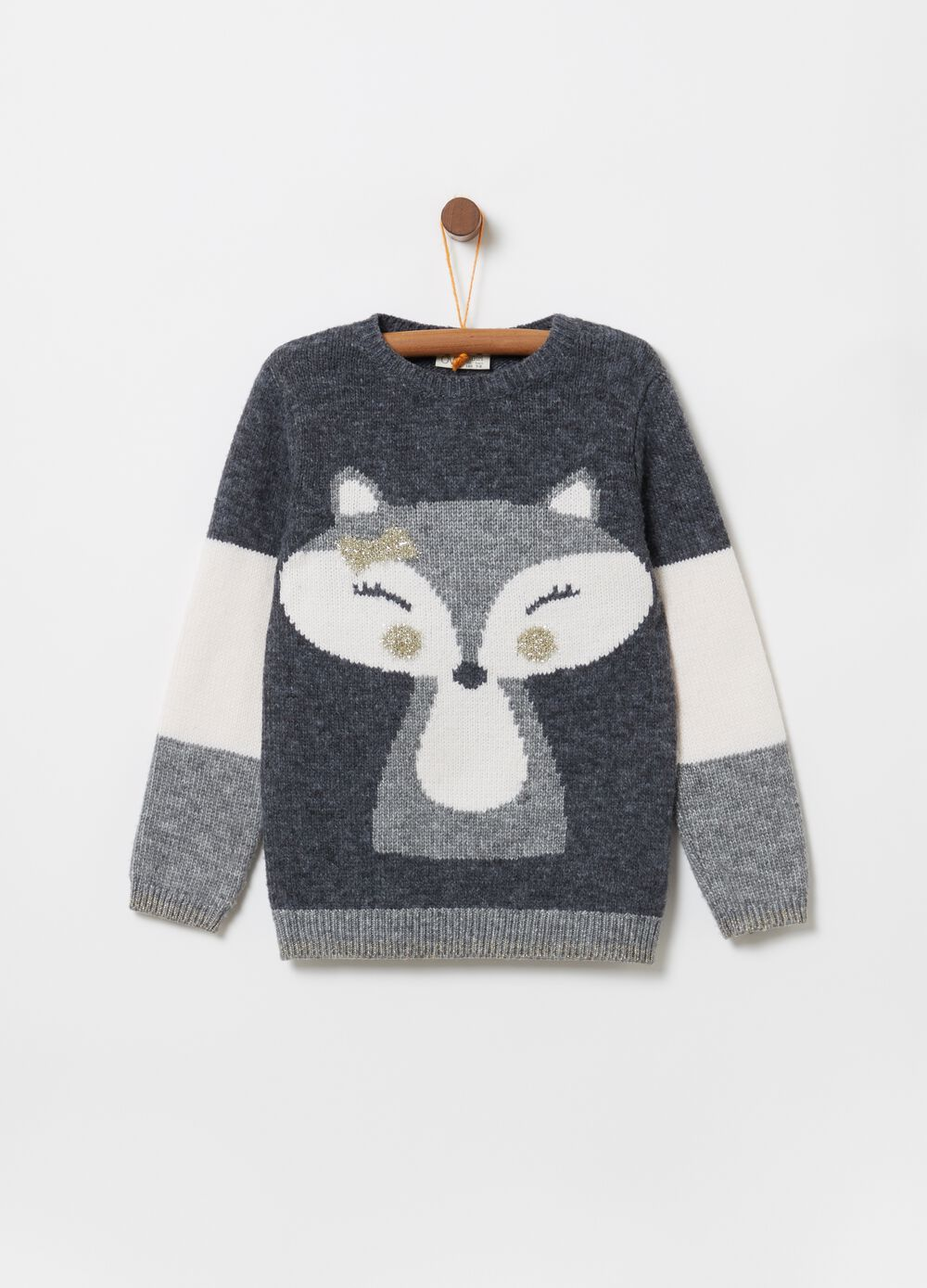Knitted pullover with animal embroidery and lurex