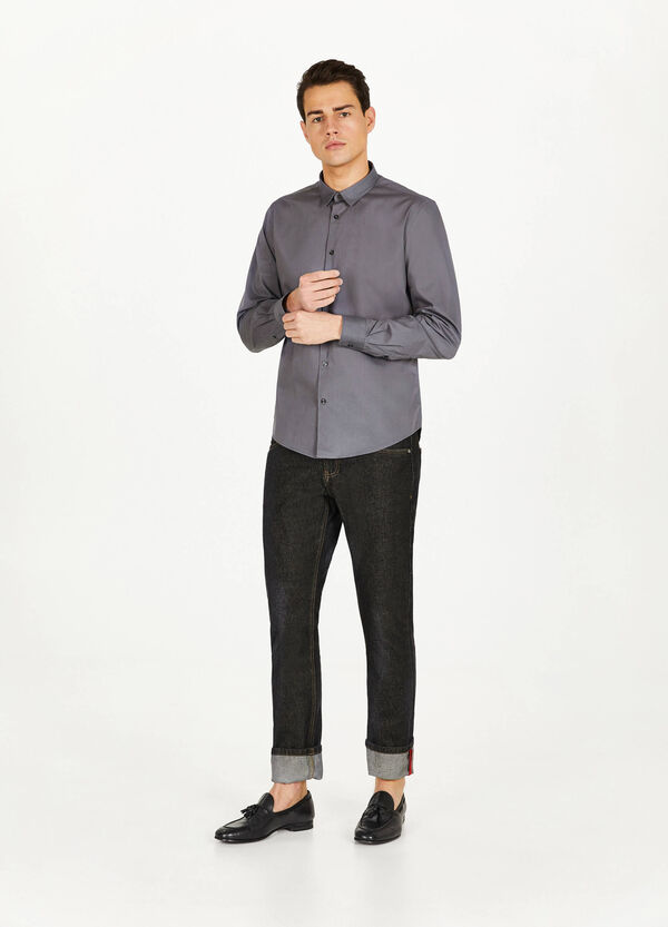 Casual solid colour shirt in cotton