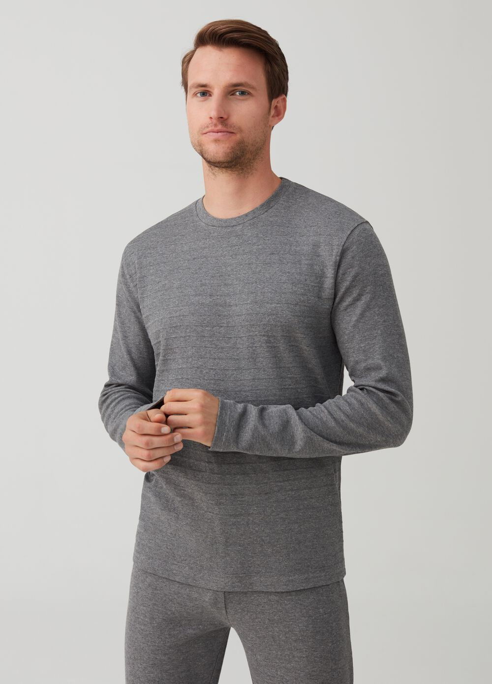 Crew neck pyjamas with jacquard pattern