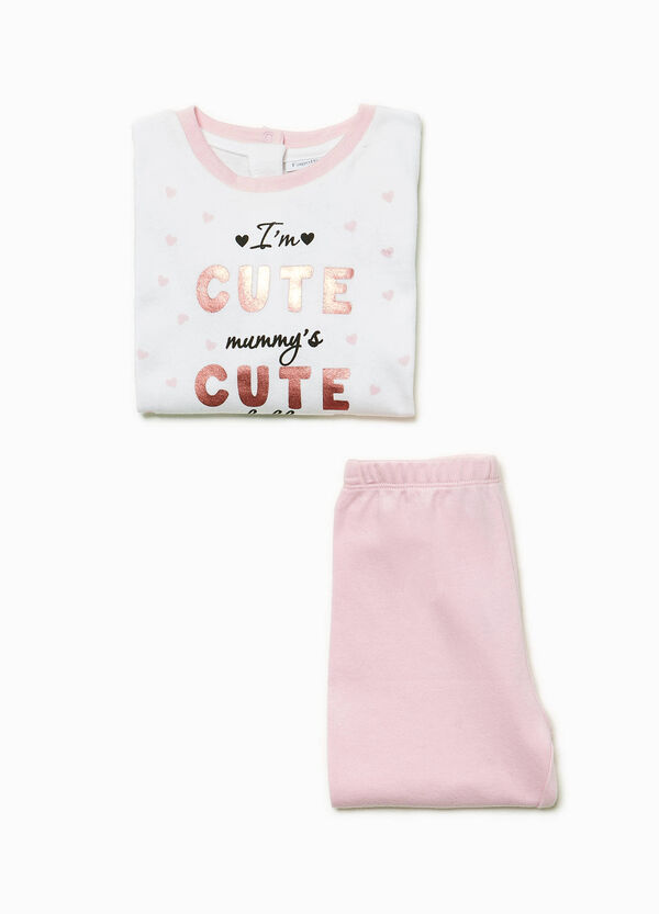100% cotton pyjamas with lettering and hearts
