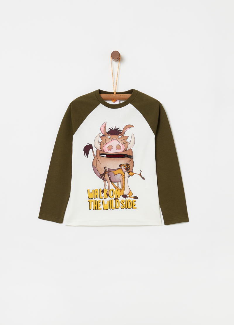 Cotton T-shirt with long raglan sleeves image number null