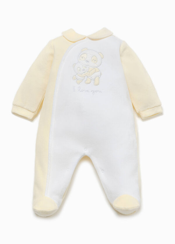 Cotton onesie with panda patch | OVS