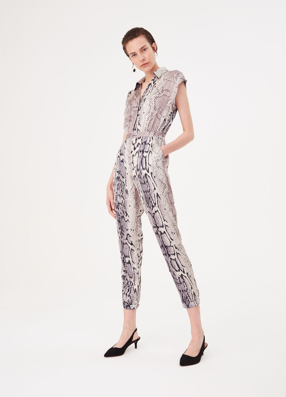 Satin-effect jumpsuit with animal print