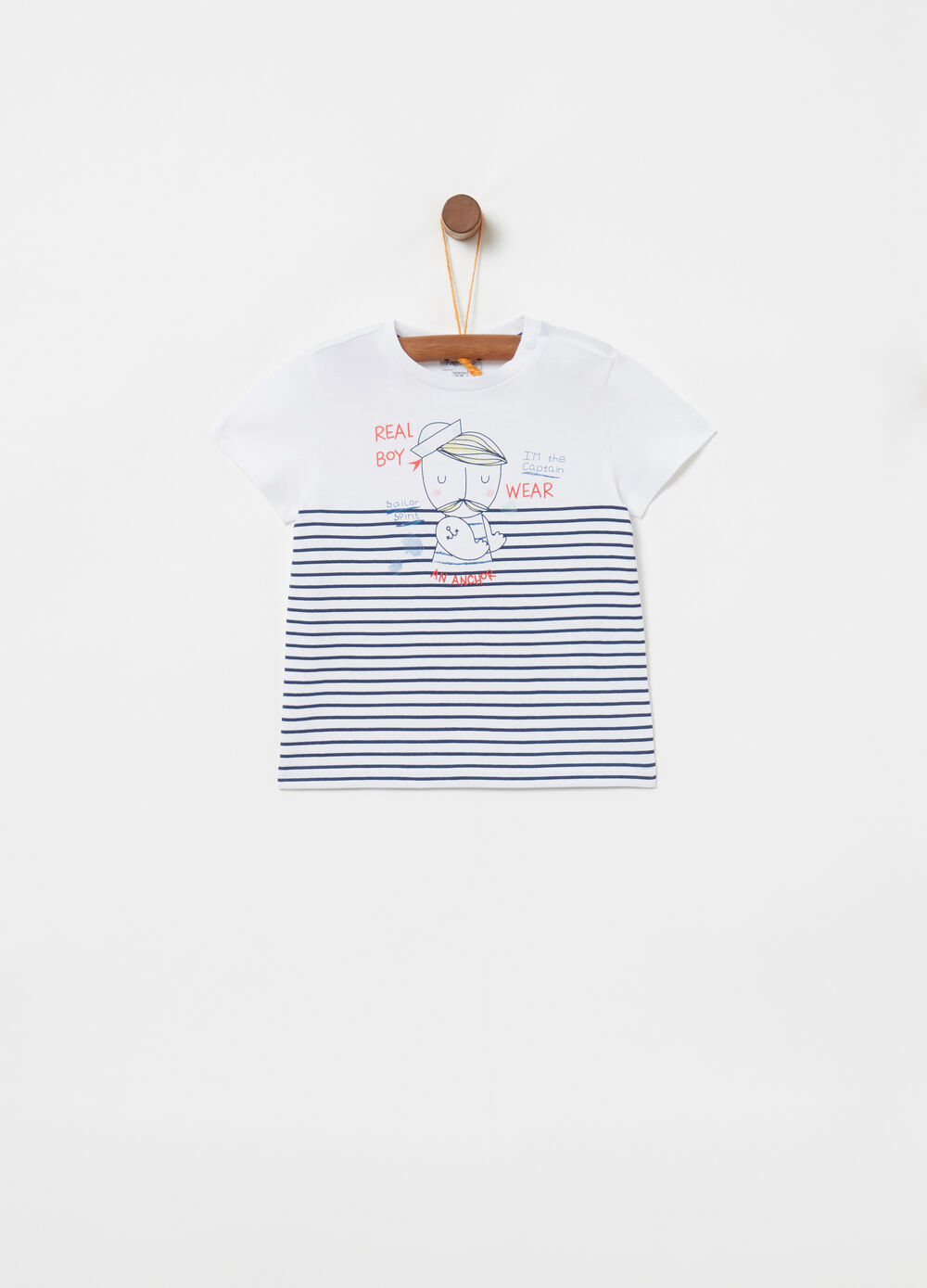 Cotton T-shirt with sailor and striped print