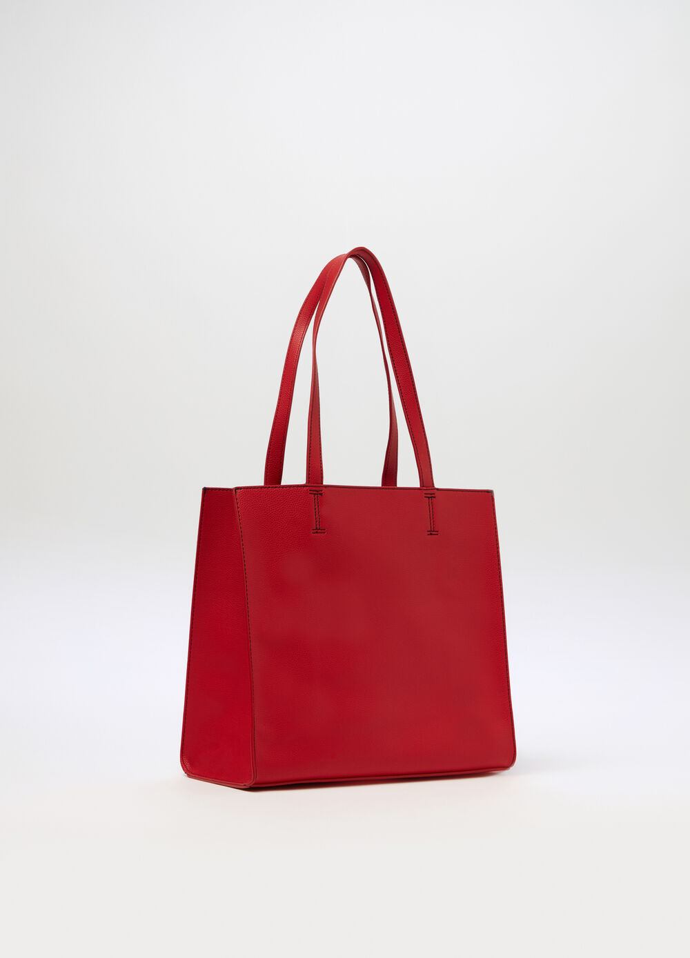 Tote bag with two-tone stitching