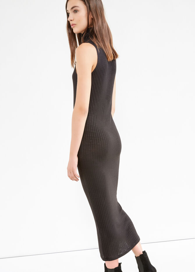 Long ribbed dress in stretch viscose