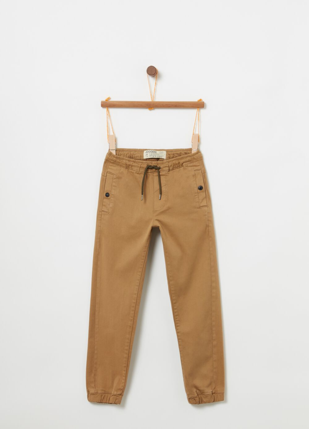 Stretch cotton jogger trousers with pockets