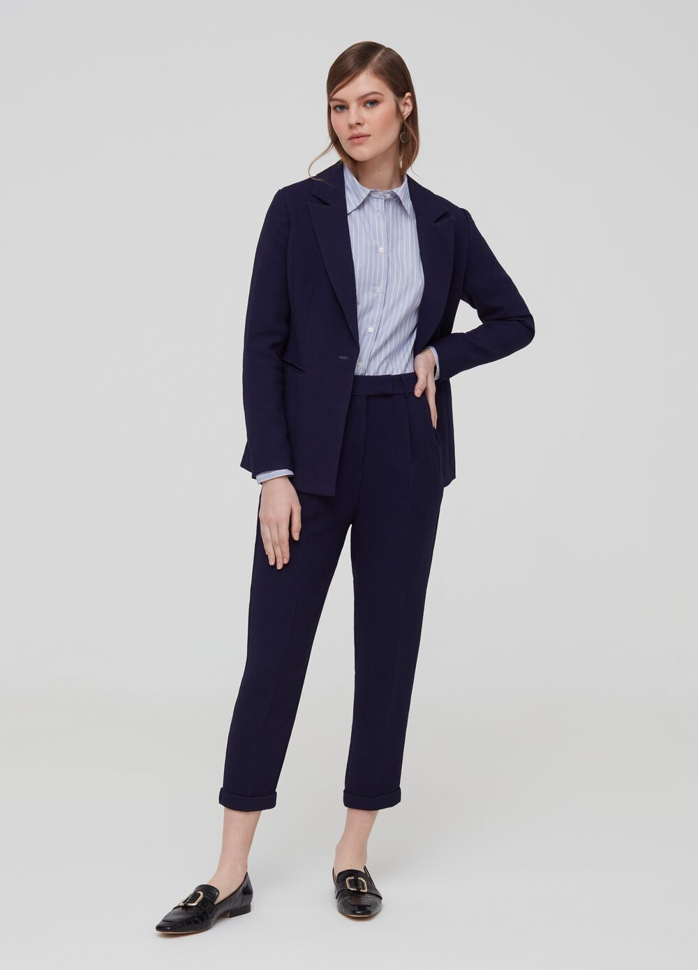 Crop trousers with high waist band