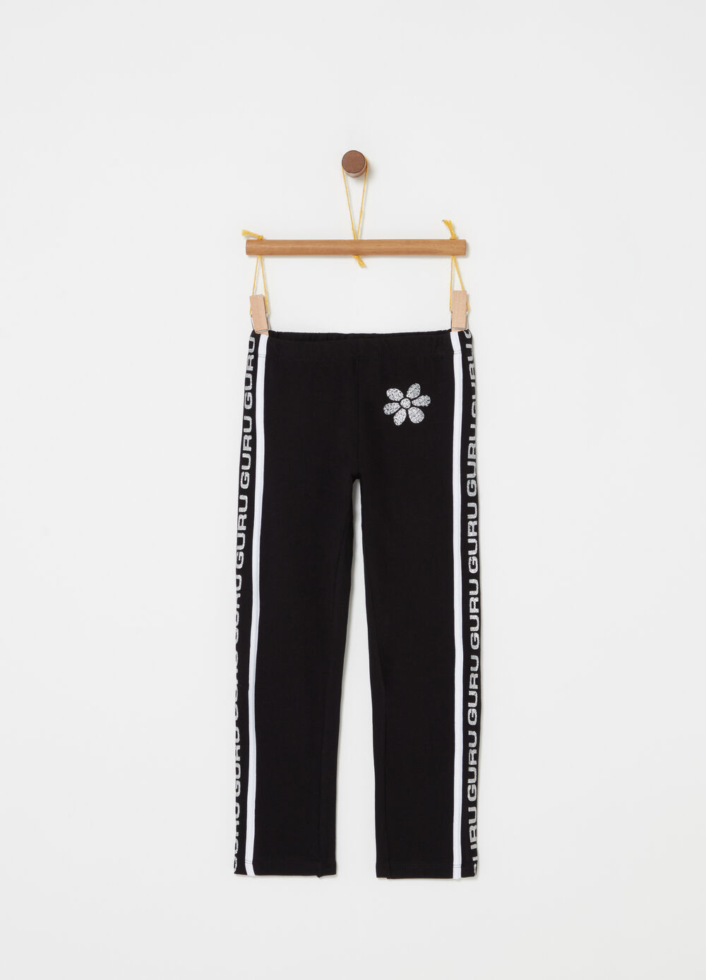Leggings with print, diamantés and glitter