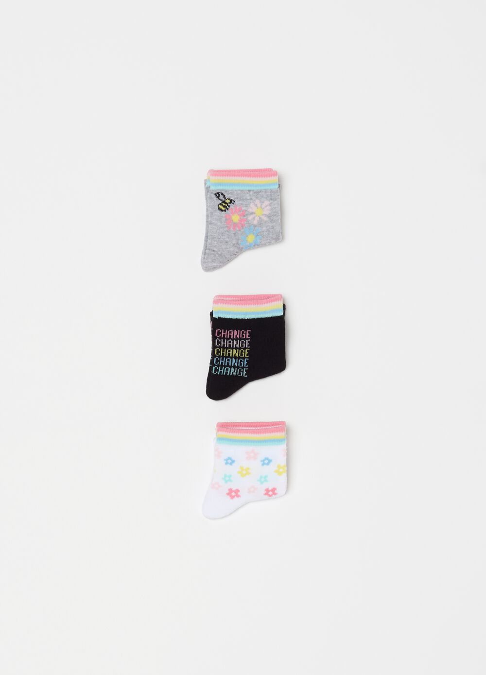 Three-pack short socks with pattern