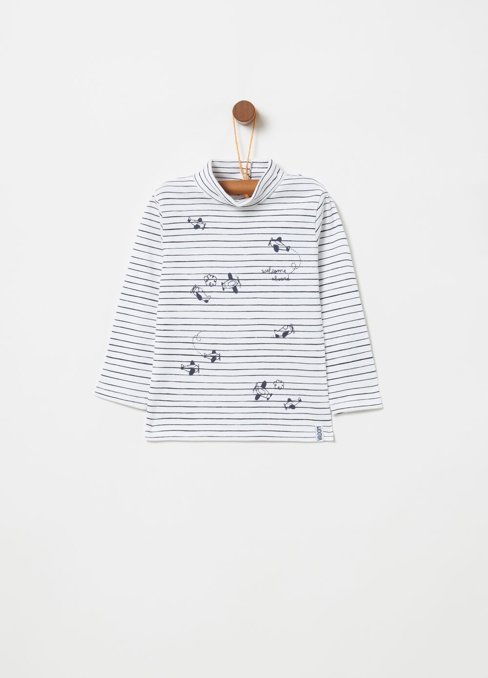 Striped cardigan in 100% warm cotton