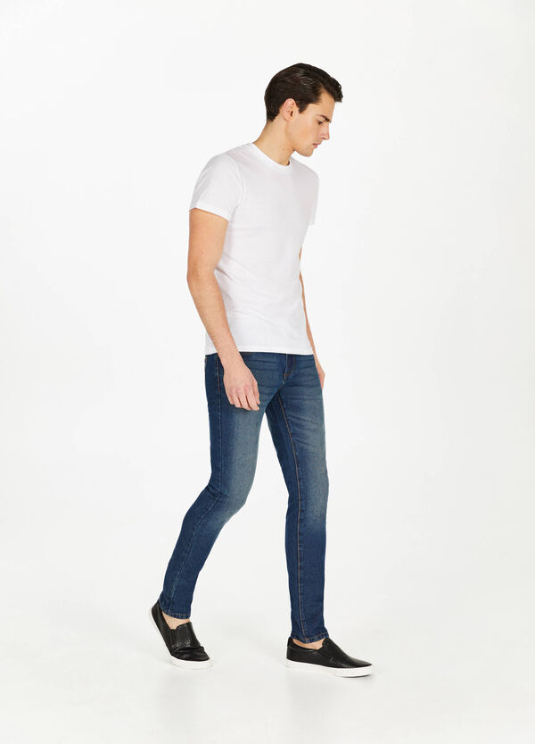 Worn-effect straight-fit jeans with fading