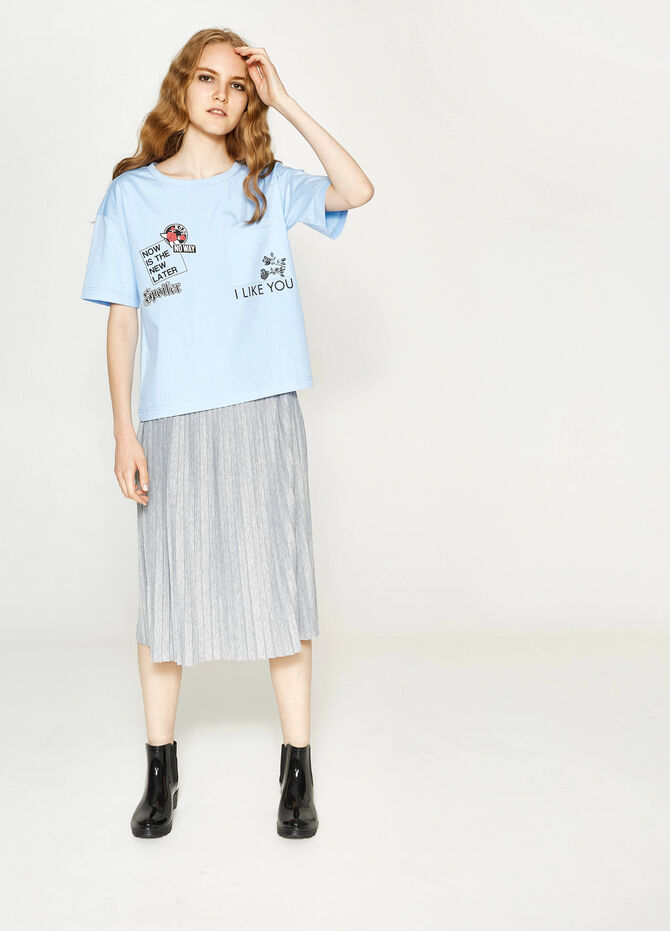 Printed T-shirt in cotton with pocket
